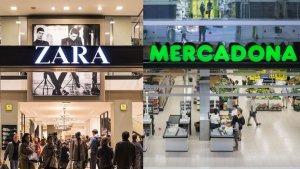 Fotomontaje de una tienda Zara y un supermercadon Mercadona
