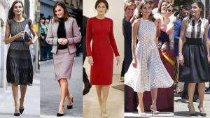 Fotomontaje de varios 'looks' de la reina Letizia con zapatos de Steve Madden