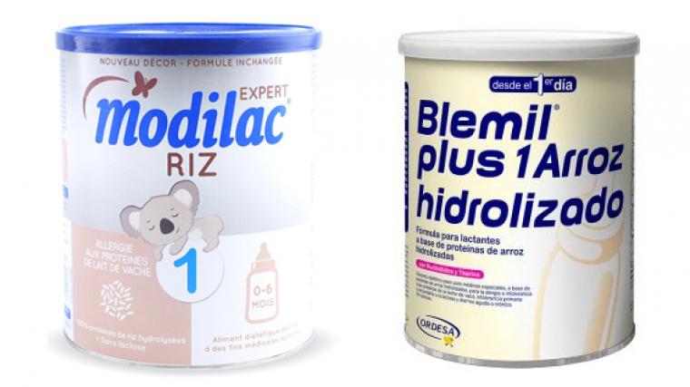 Dos envases de alimentos infantiles de Modilac y Blemil
