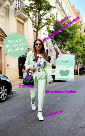 Instagram Story de Paula Echevarría con el traje verde 'mint'