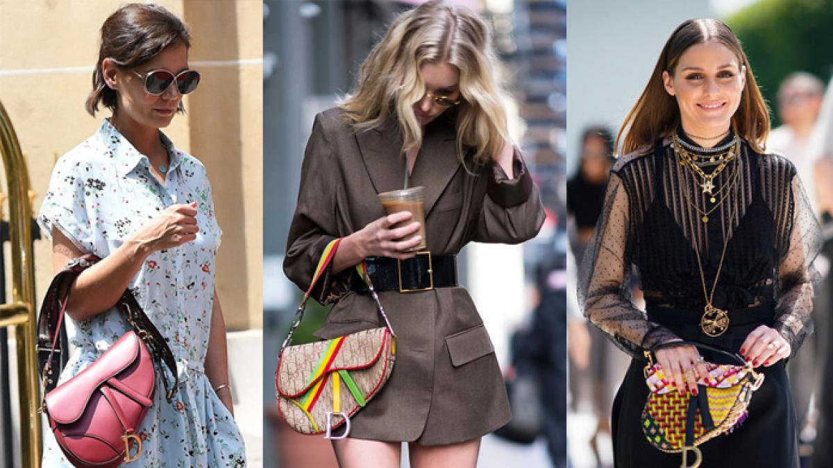 Katie Holmes, Elsa Hosk y Olivia Palermo con el bolso Saddle de Dior