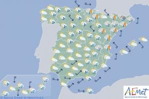 Mapa de previsión para la tarde de domingo
