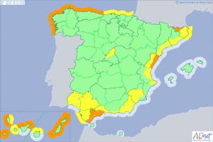 Mapa de alertas meteorológicas para este domingo