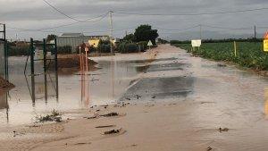 Uno de los efectos de las lluvias intensas de esta madrugada en Murcia