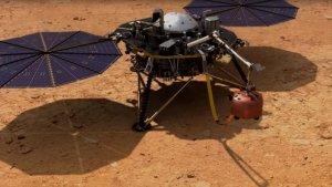 Recreación de la sonda espacial InSight que estará operativa en Marte los próximos 2 años y son nuestros oídos en el planeta