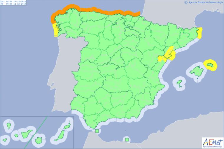 Mapa de alertas meteorológicas para este lunes