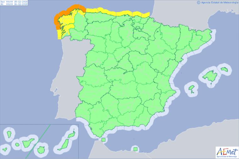Mapa de alertas meteorológicas para este sábado