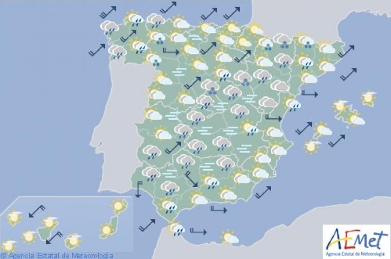 Mapa de previsión para la mañana de este miércoles
