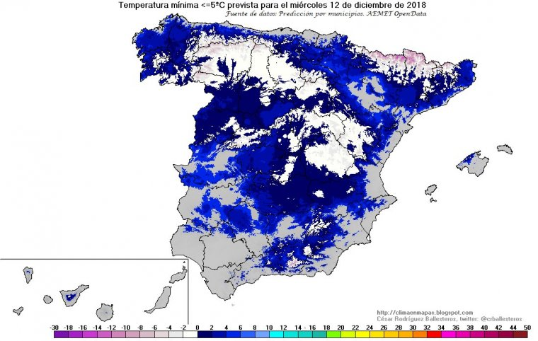 Mapa de temperaturas mínimas en España para el miércoles 12