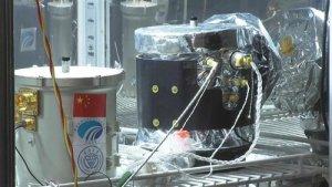 Imagen del contenedor sellado con la planta de algodón que había germinado, en la sonda china