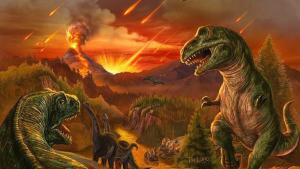 Ilustración que muestra la supuesta causa del exterminio de los dinosaurios