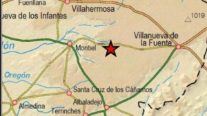 Posición en el mapa del epicentro del leve temblor de esta mañana de lunes en Ciudad Real