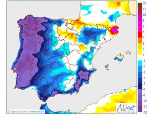 Mapa de la diferencia entre las temperaturas máximas del miércoles y las previstas para jueves