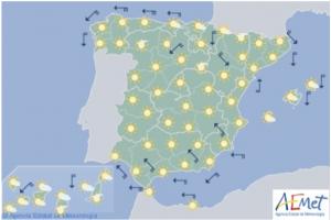 Mapa de la previsión para este lunes