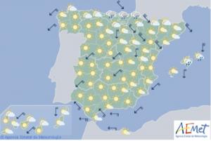 Mapa de la previsión para este miércoles