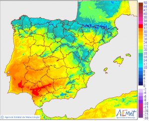 Mapa de las temperaturas diurnas previstas para este jueves