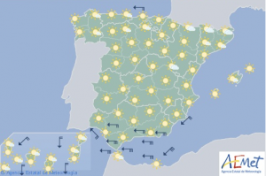 Mapa de previsión para este viernes