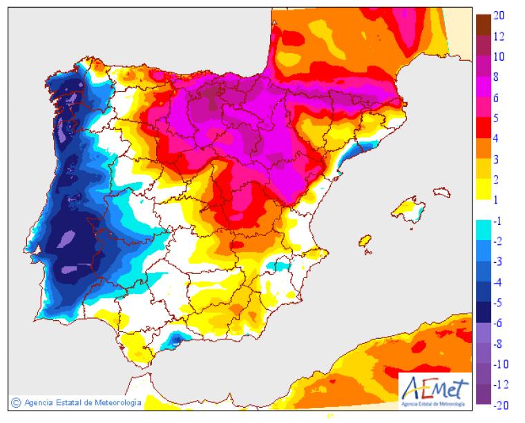 Mapa del ascenso de las temperaturas previsto este lunes