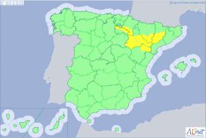 Aemet advierte del riesgo de temperaturas muy altas en toda la depresión del Ebro