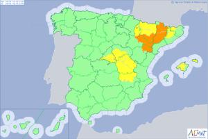 Mapa de alertas meteorológicas para este lunes, sin riesgo máximo por calor