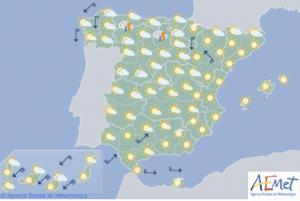 Mapa de la previsión para este domingo