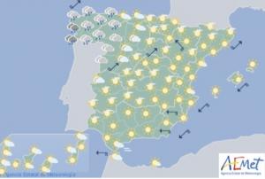 Mapa de la previsión para este domingo, la verbena de San Juan