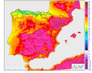 Mapa de las temperaturas máximas previstas para el lunes 1 de julio