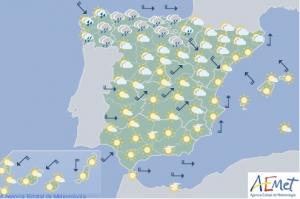 Mapa de previsión para este martes