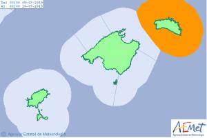 Mapa de alerta por 'rissaga' este martes en Baleares