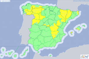 Mapa de alertas por lluvias y calor este sábado