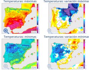 Mapa de las temperaturas previstas para este martes