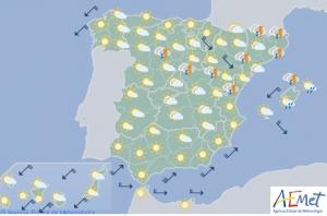 Mapa de previsión para este domingo