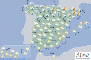 Mapa de previsión para este sábado