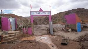 El campo de fútbol destruido por la riada