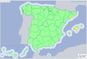 Mapa de alertas meteorológicas para este miércoles