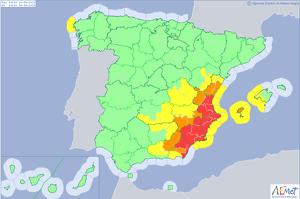 Mapa de alertas meteorológicas para este viernes