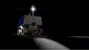 Recreación virtual del rover VIPER en su paseo lunar para encontrar hielo de agua