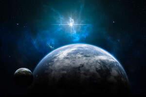 Représentation de l'espace avec plusieurs planètes et au loin le soleil