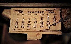 Vieux calendrier du mois de juin 1948