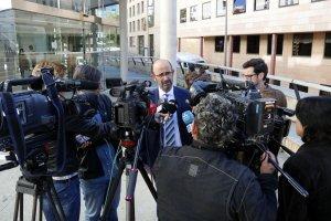 L'advocat de les famílies dels Agents Rurals morts a Aspa, Pau Simarro, als jutjats de Lleida.