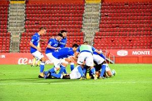 Els jugadors del Lleida Esportiu celebrant la victòria a Mallorca