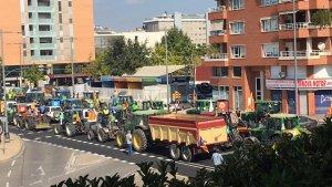Imatge dels tractors a l'avinguda de l'Estudi General de Lleida.