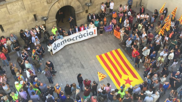 Imatge de la concentració de la plaça Paeria