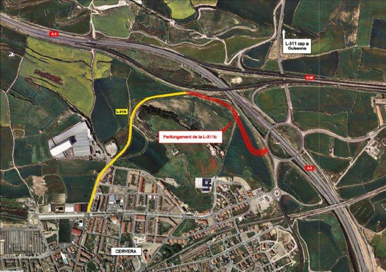 Plànol amb el tram de la carretera l'L-311b que Territori i Sostenibilitat perllongarà fins a l'A-2, a Cervera, per tal de millorar la mobilitat del municipi