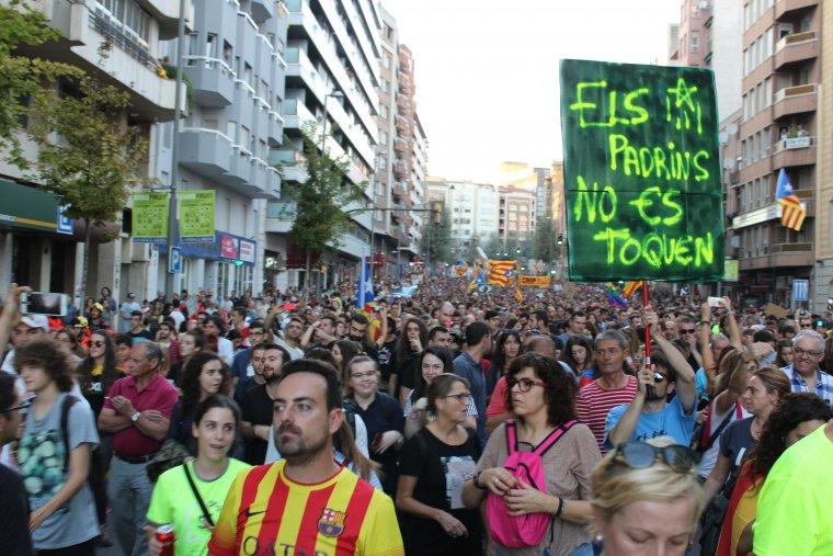 Un moment de la manifestació del 3-O a Lleida.