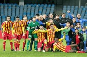 El Lleida Esportiu després de la victòria a Anoeta