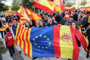 Imatge de la manifestació unionista a Lleida