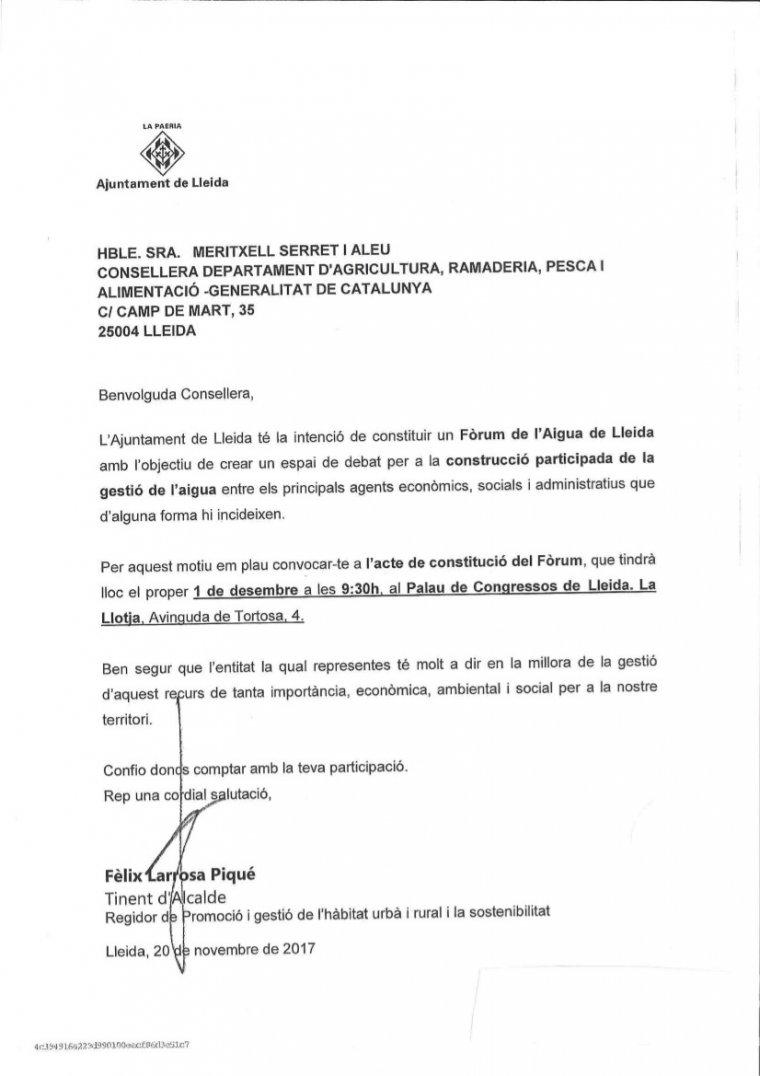 Imatge de la carta de la Paeria invitant a la ''consellera d'Agricultura, Meritxell Serret'' al Fòrum de l'Aigua