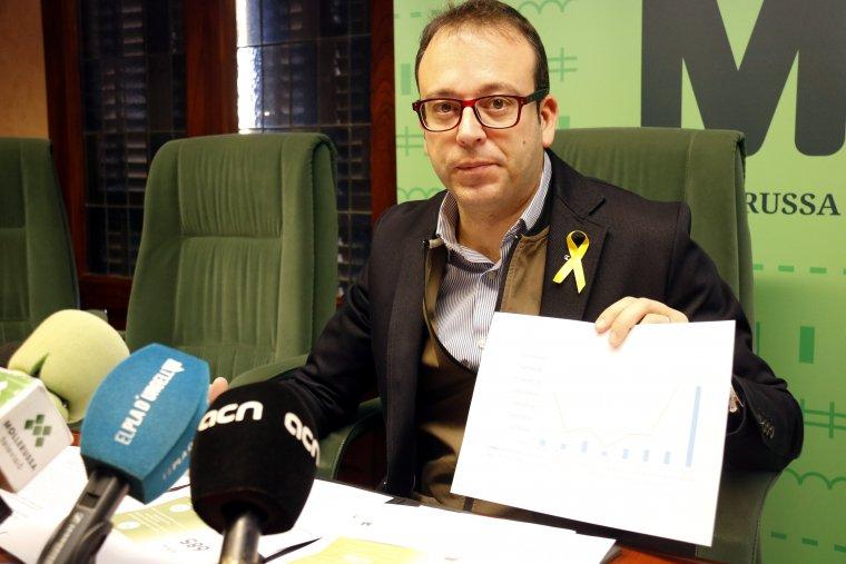 L'alcalde de Mollerussa, Marc Solsona, mostrant una gràfica de l'evolució del pressupost municipal