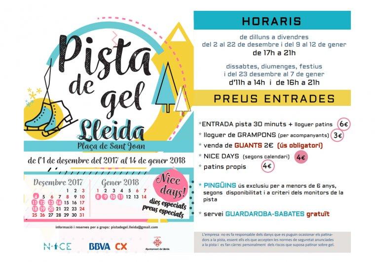 Horaris i preus de la pista de gel de Lleida.